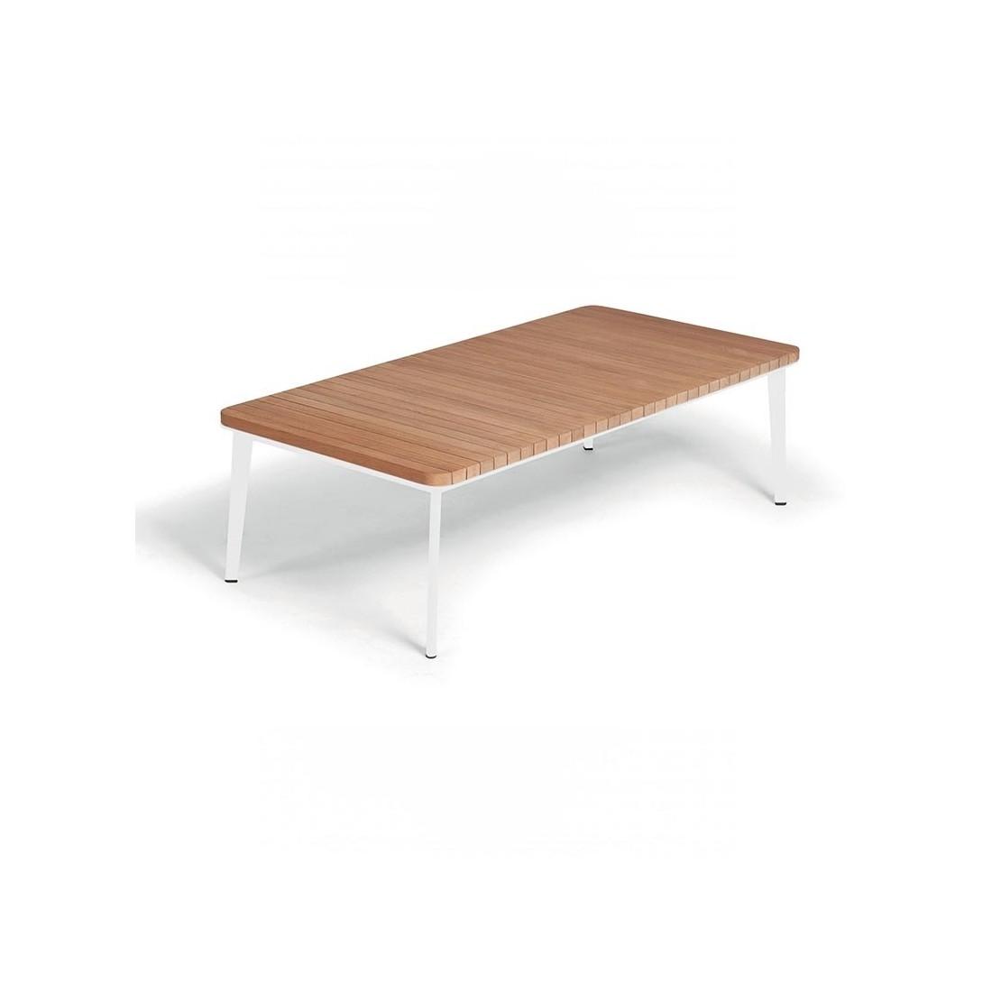 table basse rectangulaire en teck et aluminium. Black Bedroom Furniture Sets. Home Design Ideas