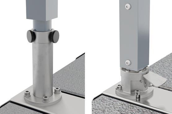 Rotation à 360° – Pied pivotant en acier inox optionnel Lorsque le soleil se déplace durant la journée, votre parasol décentré Amalfi va simplement suivre, car il peut pivoter à 360°. La version standard du mât de l'Amalfi se termine par un tube de Ø 50mm, qui est fixé par des vis à l'intérieur d'un raccord. L'option alternative est un pied en acier inoxydable avec une pédale, la rotation étant possible en appuyant simplement sur la pédale. Lorsque la pédale est relâchée, le mécanisme maintient le parasol en place. La pied pivotant en acier inox est vissé directement sur l'ancrage au sol ou sur le pied de parasol (bases compatibles : Pianura U, Monaco U, California U).