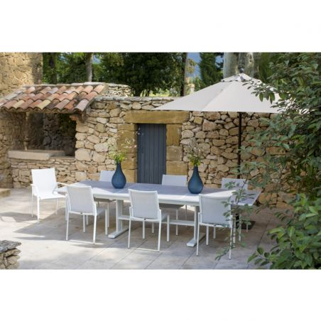 Table extensible KOTON - 200/300 x 102 x 75 cm - plateau céramique béton ciré - LES JARDINS