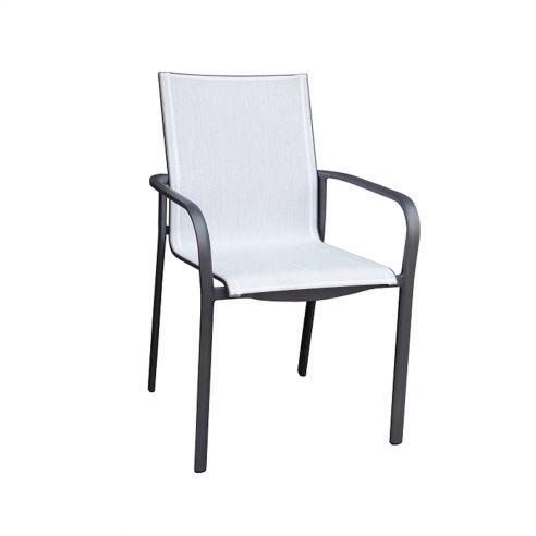 Fauteuil empilable KOTON - structure gris espace - toile blanc chiné - LES JARDINS