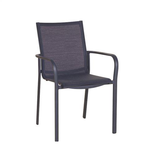 Fauteuil empilable KOTON - structure gris espace - toile gris chiné - LES JARDINS