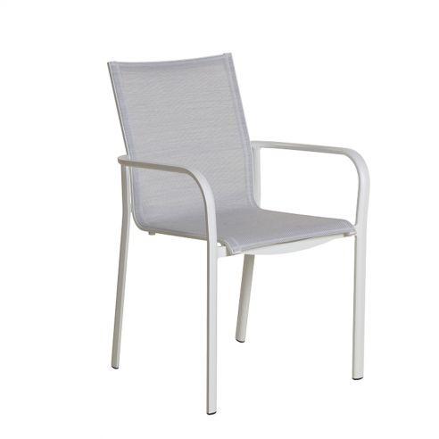 Fauteuil empilable KOTON - structure blanche - toile blanc chiné - LES JARDINS