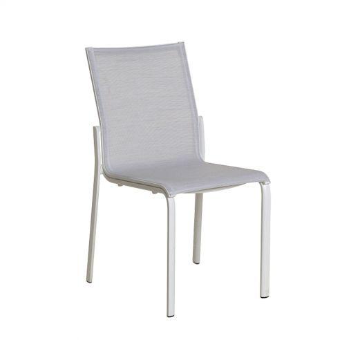 Chaise empilable KOTON - structure blanche - toile blanc chiné - LES JARDINS