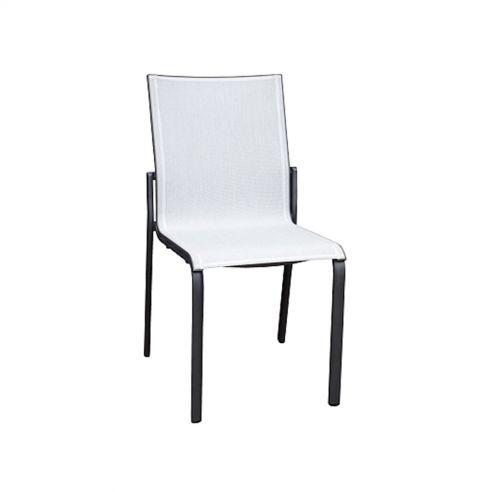 Chaise empilable KOTON - structure gris espace - toile blanc chiné - LES JARDINS