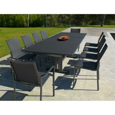Chaise empilable KOTON - structure gris espace - toile gris chiné - LES JARDINS