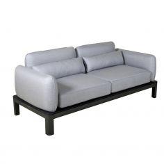 Canapé 2-3 places KOTON - structure gris espace - coussins gris clair - LES JARDINS