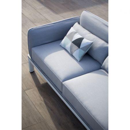 Canapé 2-3 places KOTON - structure blanche - coussins gris clair- LES JARDINS