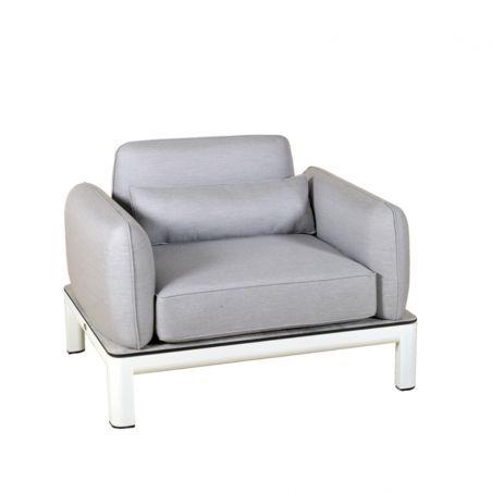 Fauteuil KOTON - structure blanche - coussins gris clair- LES JARDINS