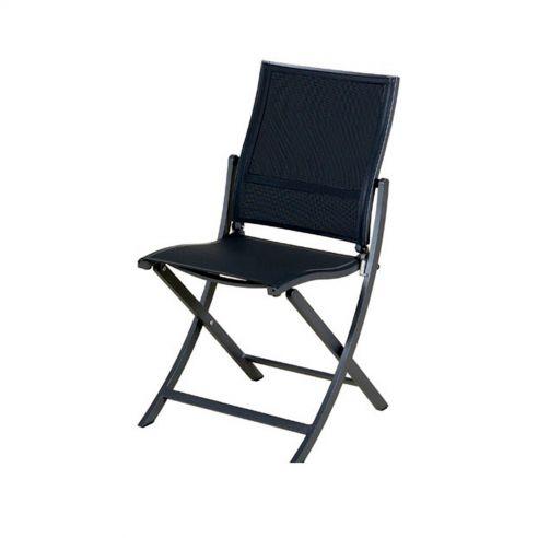Chaise pliante KOTON - structure gris espace - toile gris chiné - LES JARDINS