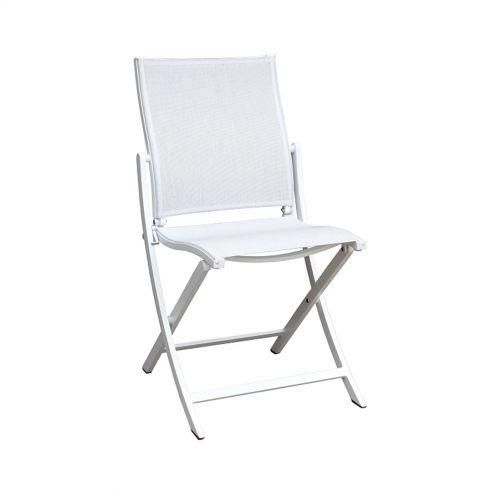 Chaise pliante KOTON - structure blanche - toile blanc chiné - LES JARDINS