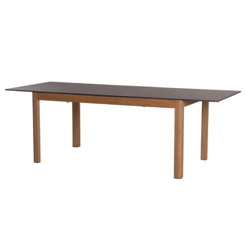 Table extensible TEKURA - 180/240 x 95 x 75 cm - teck et HPL ardoise - LES JARDINS