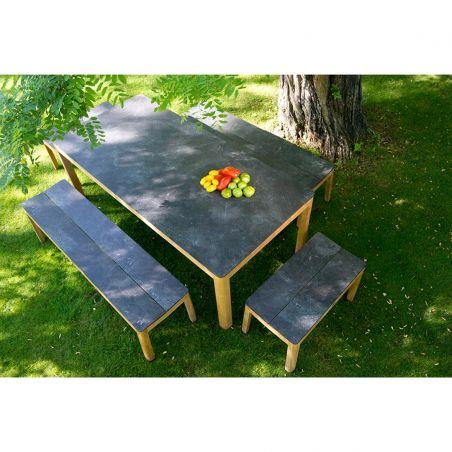 Table fixe TEKURA - 200 x 95 cm - teck et HPL ardoise - LES JARDINS