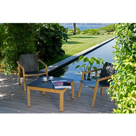 Table basse rectangulaire TEKURA - 160 x 50 cm - teck et HPL ardoise - LES JARDINS