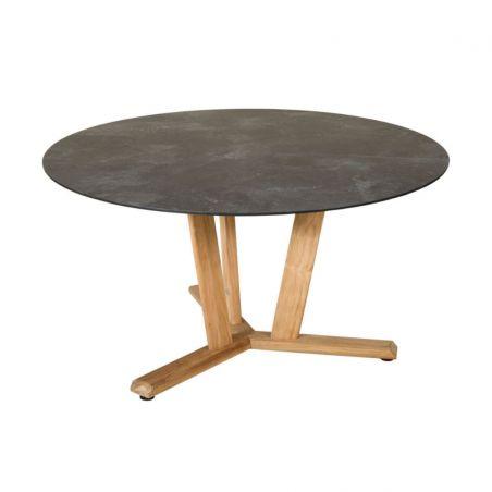 Table ronde TEKURA - D.140 x 74 cm - teck et HPL ardoise - LES JARDINS