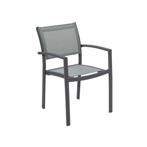 Fauteuil repas OLYMPE, structure anthracite, toile Batyline EDEN - Vlaemynck