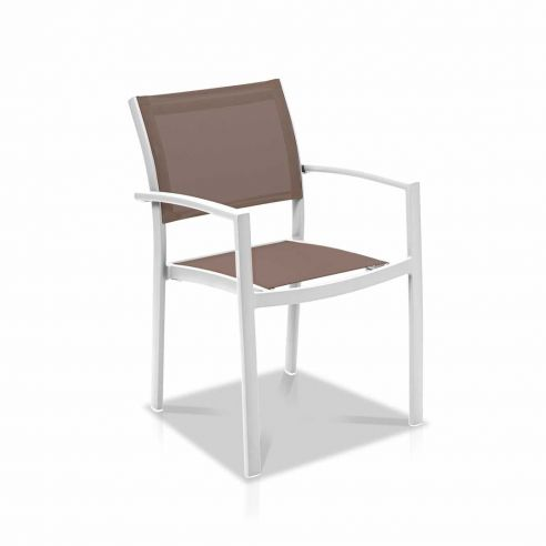 Fauteuil repas OLYMPE, structure blanche, toile Batyline ISO- Vlaemynck