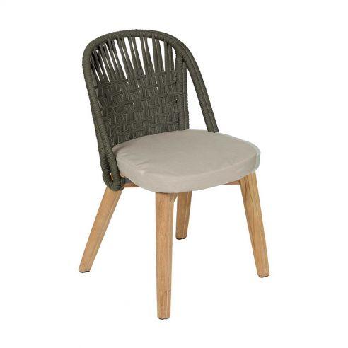 Chaise repas Gordes- teck et toile natté de Sunbrella - Vlaemynck