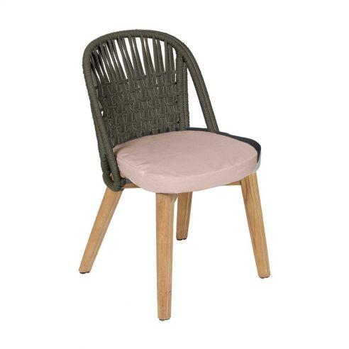 Chaise repas Gordes- teck et toile teint masse - Vlaemynck