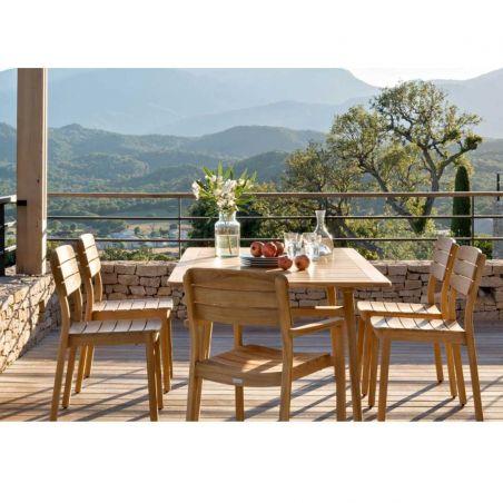 Chaise repas en teck massif naturel LODGE - Vlaemynck