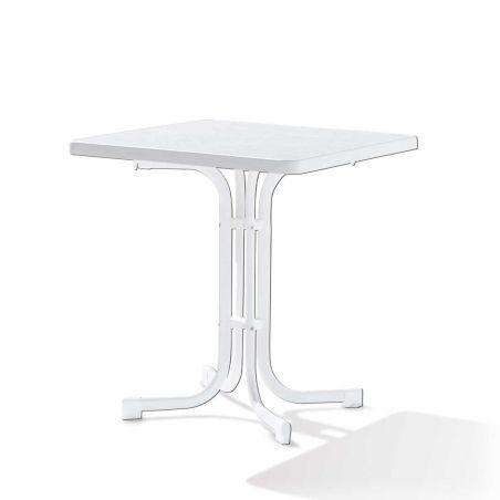 Table pliante 70x70 cm - blanche - acier blanc et plateau Mécalit pro - SIEGER