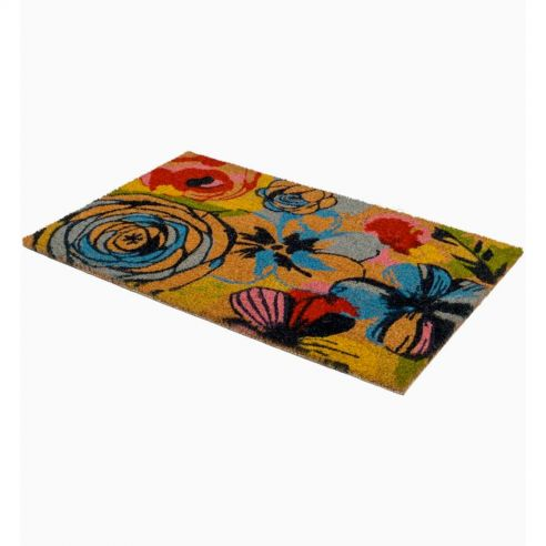 Paillasson antidérapant Watercolor Floral en fibre coco- Fab Hab
