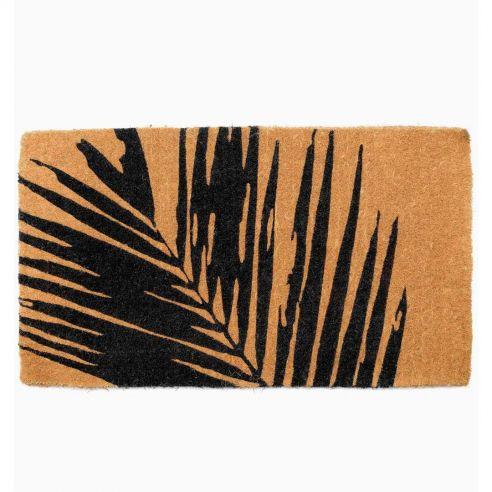 Paillasson antidérapant Summertime Palm Leaf en fibre coco- Fab Hab