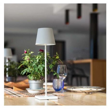 Lampe de bureau touch sans fil en aluminium blanc LED blanc dimmable KELLY WHITE H39cm - Lumisky
