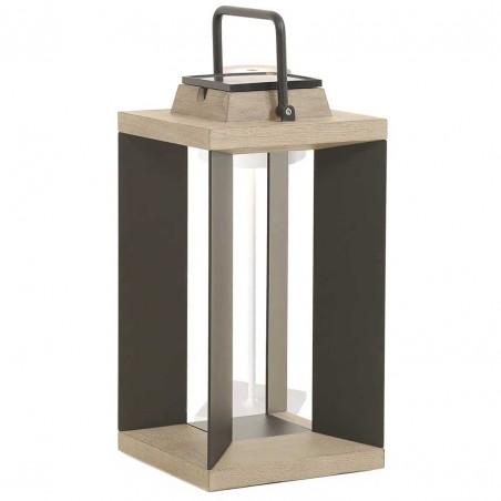 Lanterne solaire et rechargeable TeckAlu noire - moyen modèle - LES JARDINS
