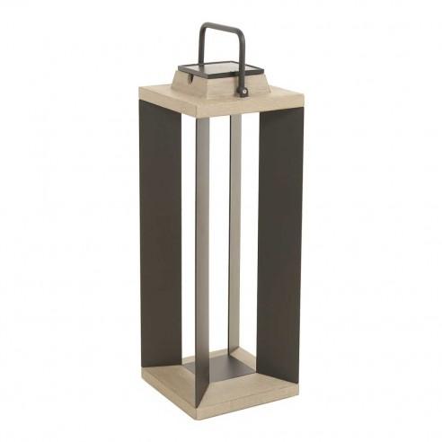 Lanterne solaire et rechargeable TeckAlu noire - grand modèle - LES JARDINS