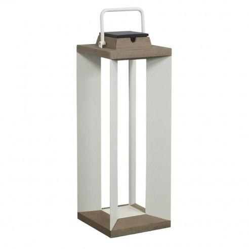 Lanterne solaire et rechargeable TeckAlu blanche - grand modèle - LES JARDINS