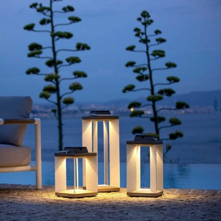 Lanterne solaire et rechargeable TeckAlu blanche - petit modèle - LES JARDINS