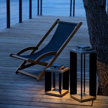 Lanterne solaire et rechargeable TeckAlu noire - petit modèle - LES JARDINS