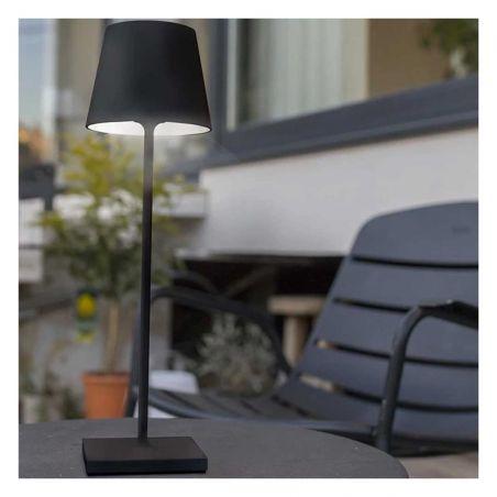 Lampe de bureau touch sans fil en aluminium noir LED blanc dimmable KELLY BLACK H39cm - Lumisky