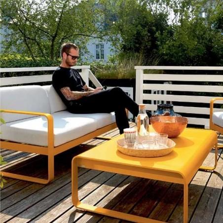 Canapé droit  - BELLEVIE - 2 places - Blanc grisé  - FERMOB - Confort Jardin - Les Issambres