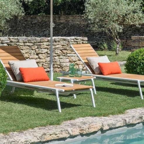 Bain de soleil en teck  - PILOTIS - VLAEMYNCK - Confort Jardin - Les Issambres