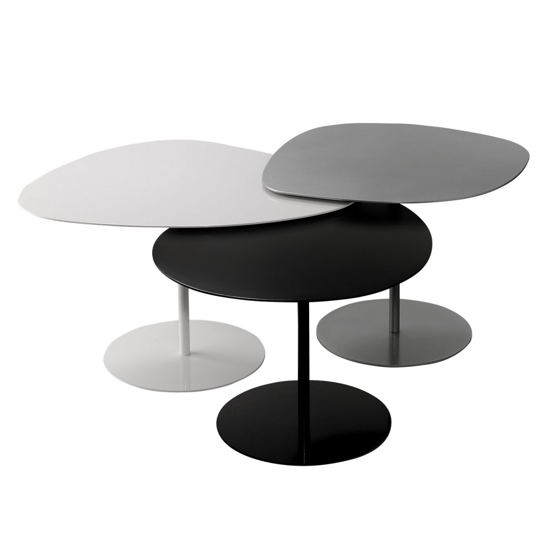 Tables basse galets en aluminium lot de 3 mati re grise for Table basse en aluminium