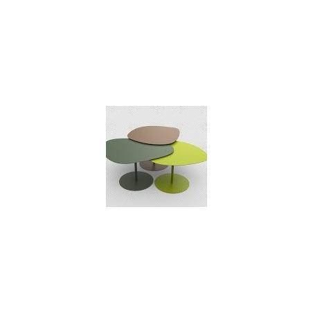 Tables basses galets, en aluminium,  lot de 3, Matière Grise