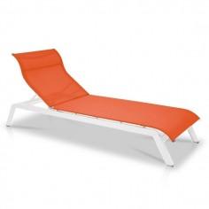 Bain de soleil, Maui, structure blanche, toile Batyline EDEN -  Vlaemynck - Confort Jardin - Les Issambres