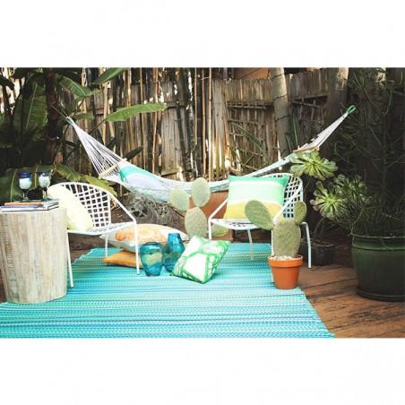 Tapis intérieur / extérieur - Cancun Turquoise & Vert Mousse - Fab Hab