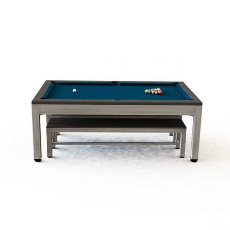 Table de billard extérieure multifonction - gris/marron - RILEY