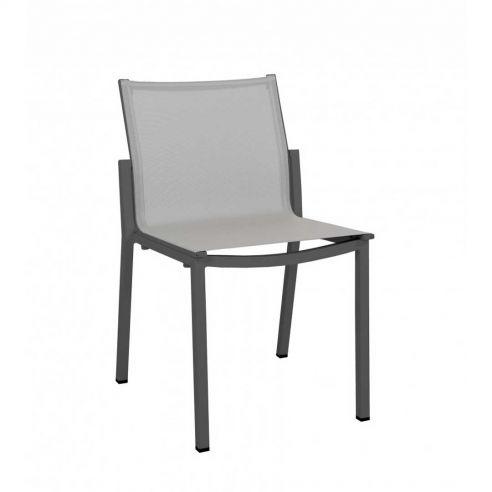 Chaise repas de jardin empilable AMAKA - gris - LES JARDINS