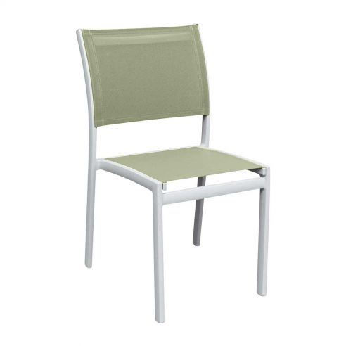 Chaise repas OLYMPE, structure blanche, toile Batyline EDEN -  Vlaemynck
